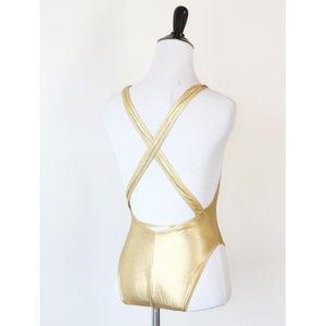 American Apparel Swim - American Apparel Gold Suspender Bodysuit S 5952efe59